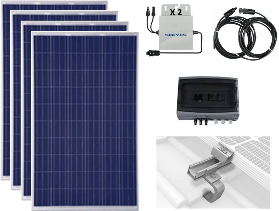 Kit autoconsommation Equipement solaire 4 panneaux 1100 Watts